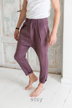 Mens linen pants Low crotch trousers Casual linen pants for men Loose linen pants Summer lightweight trousers