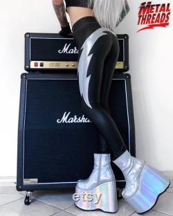 Metal Threads Shock Me custom pants Ace Frehley black silver lightning bolt faux leather spandex made to order leggings 70s rock Kiss