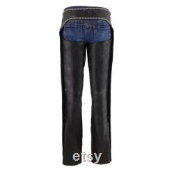 Milwaukee Leather MLL6502 Ladies Black Classic Leather Chaps with Rhinestones Bling