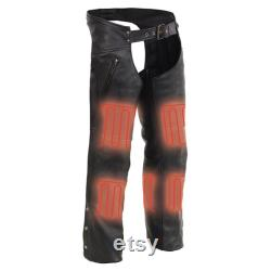 Milwaukee Leather MLM5513 Men's Black 'Heated' Leather Chaps with Zippered Thigh Pockets