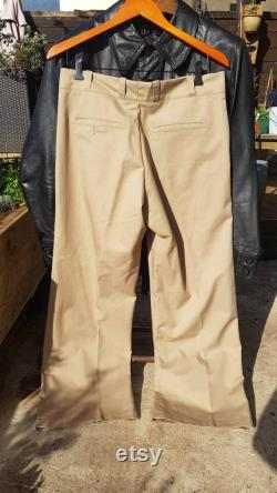 Mint late 1960s 70's khaki flared Sears perma press sta press cotton chinos with little ticket pocket,flat front.32-34 w,28 leg.As new vgc