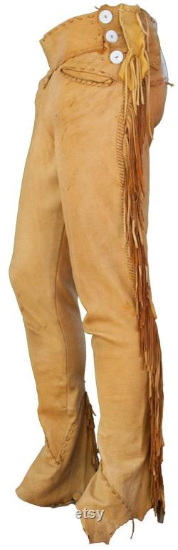 Native American Handmade cowboy style Buck Skin Beaded Suede Leather Pant Chap mountain men TB001