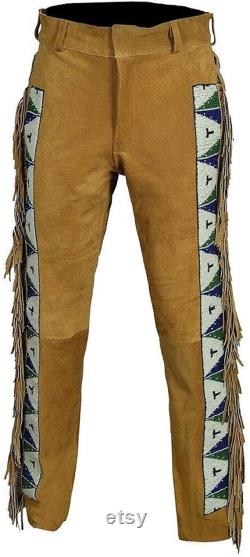 Native American Handmade cowboy style Buck Skin Beaded Suede Leather Pant Chap mountain men TB002