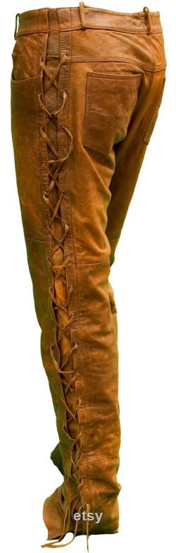 Native American Handmade cowboy style Buck Skin Beaded Suede Leather Pant Chap mountain men TB009
