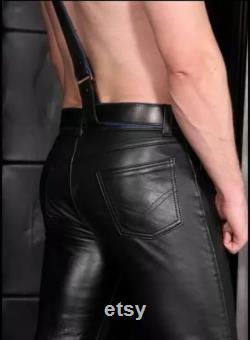 New Genuine Cow Leather Pants Five pockets Jeans Style Fitted Mens Fetish