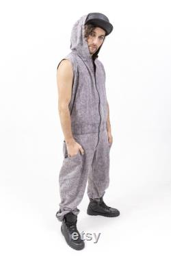 ON SALE Deconstruct Boiler Suit Unisex hooded overall, Jumpsuit, Apocalyptic Fashion, Burning Man, Festival wear