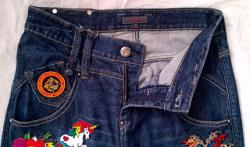 Patched Jeans Reworked Vintage JASPAL Jeans with Patches Vintage Boyfriend Jeans 32 Waist