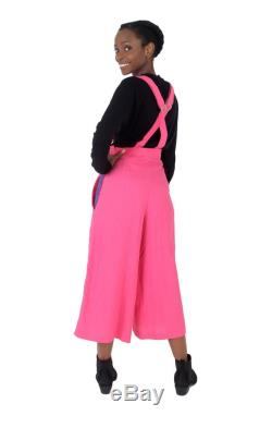 Pink Power Bright Pink Dungaree Culottes UK 6-8