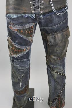 Post-apocalyptic Trousers Biker Pants Patchwork Jeans Wasteland Warrior Handmade Denim Trousers Raider Costume Stage Clothing