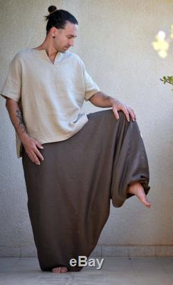 Pure Linen Harem Pants with Side Pockets, Washed Linen Pants Men, Linen Trousers, Flax Pants Tall, Plus size, Custom Made. Big Color Choice