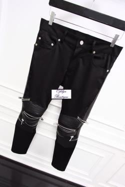 Quilted Highest Version Stitching Leather Panel Multi Zip Skinny Biker Motorcycle Zipper Jeans
