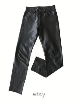 RARE Made In England Black Leather Pants Trousers, W30 (Men's Vintage)