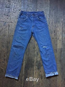 RARE Vintage 1960s GWG, patched workwear, selvedge, crotch riveted jeans