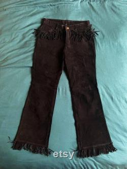 Rare 70s Flared leather suede fringed rockstar trousers black vintage
