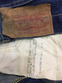 Rare Levis Jeans 805 0217 denim Vintage 1960's Distressed Dark Blue denim Non Selvage Single Stitch Jean W28