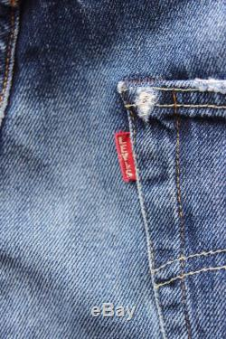 Rare Vintage BIG E Levis 501 Red Tab Relaxed Fit Faded Blue Denim Jeans W30 L34