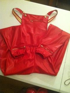 Red Leather Overall Joggers wit zippers