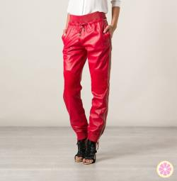 Red Leather joggers Genuine Lambskin Perforated Leather Pants Drawstring elasticized waist band