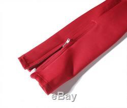 Red White Track pants with Riri Zippers