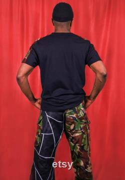 Reworked Vintage Military Camo Combat Trousers With Leather Patchwork