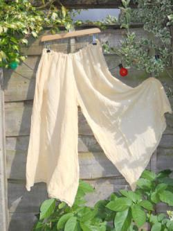 RitaNoTiara Lagenlook Quirky Funky Trousers Wide leg floaty cotton hand dyed UK artisan Palazzo Pants Culottes 10 Colours Romantic Layering