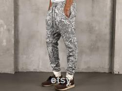 Samurai mask and Dragon White Cotton Men Drop Crotch Pants black and white joggers with ornamentals chrysanthemums and dragons Gift for him