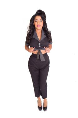 Sexy Pinup Greaser Girl coveralls Capri's with peek-a-boo tie front Rockabilly Garage