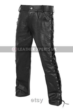 Side Laces Mens Faux Leather Motorcycle Pants Funky Leather Trouser Gift for him Cosplay Party Pants Handmade Biker pants