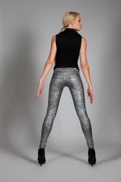 Silver Hologram Leggings w. Jeans Back, Holographic Disco Pants, Pop Star Stage Clothing, Sci Fi Club Wear, Glitter Meggings, by LENA QUIST