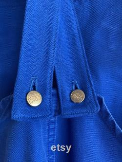 Size SMALL MEDIUM, Vintage French Blue Dungarees, 1970's Workwear. D40