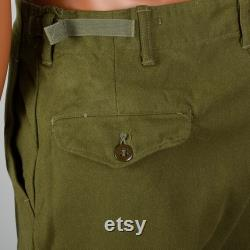 Small 1950s Mens Wool Military Field Trousers Flap Pockets Adjustable Waist Green 50s Vintage Pants