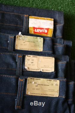 Sz. 33x32 Vintage Lot of 4 Pair 70's and 80's NWT Deadstock LEVI'S 'Big Bell' Blue Denim Bell Bottom Jeans