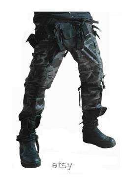 Techwear Pants Cyberpunk Streetwear Bottoms With Straps and Utility Bag Black and Camo available