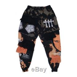 The chaos joggers sweat pants baggy drop crotch comfy track suit set patches punk bleach burning man upcycled vegan feminist phil collins