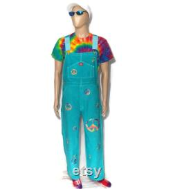 Tie Dye Overalls with Rainbow Peace Signs Dickies Brand 32W x 32L Jade Green Solid Color Painter Bibs Festival Gear Awesome Blossom Style