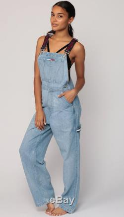 Tommy Hilfiger Overalls Pants 90s Streetwear Denim SPELLOUT Pants Bib Baggy Long Jean Pants 1990s Hipster Vintage Dungarees Medium