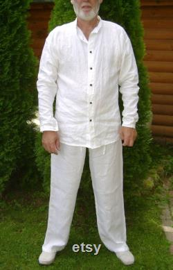 Trousers and Long sleeve Shirt, Mens Classic Linen Summer Suit, Clothing Outfit, Set for Beach party, A great gift for your spouse