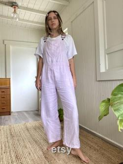 True 1990 s Vintage 100 French Linen Baby Pink Pastel Overalls