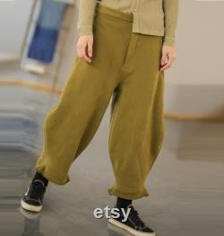 U011-Loose Unisex Cotton French Terry Cropped Pants, Knit Cotton Cocoon Trousers, Women Men Whinter Pants, Made to Order.