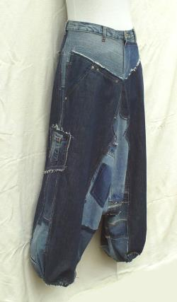 Unisex Harem pants in patchwork of recycled jeans (CUSTOM-MADE REALIZATION) , pants in disconnected then sewn on again recycled blue jeans