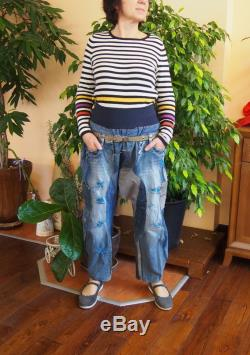Unisex Harem pants in patchwork of recycled jeans , pants in disconnected then sewn on again recycled blue jeans and Nara POT013