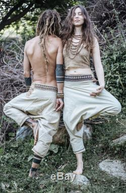 Unisex Hemp Cotton Harem pants With Tribal Embroidery