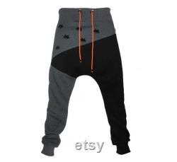 Unisex cozy sweatpants jogging trousers with space invaders black and grey
