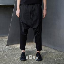 Unisex drop crotch jogger pants in black, ribbed pants