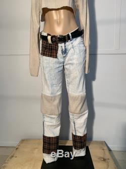 Up-cycled patchwork pants plaid, sweater, acid wash, western
