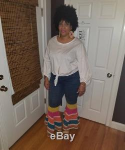 Upcycled crochet bellbottom Jeans