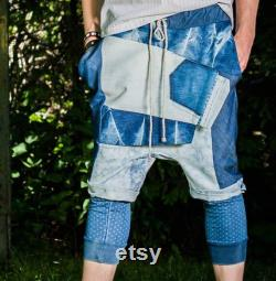 Upcycled denim low crotch trousers size S. IRREGULAR CUT
