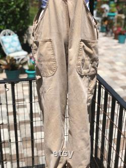VINTAGE CANVAS OVERALLS 46'x30' Dickies tan canvas overalls carhartt overall workwear vintage workwear fab208nyc fab208 faded canvas overall
