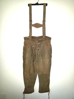 VINTAGE Suede Leather Pants by Natural Life Landhausmode GERMANY Suede Suspenders Wooden Buttons OKTOBERFEST Color Brown Tan Size 40 Men.