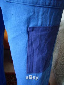 VTG 60s French work Dungarees, cropped, patched and repaired blue Bugatti, size M L